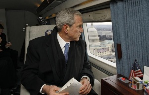 Former President George W. Bush aboard Marine One, 2008 following the Inauguration of Barack Obama