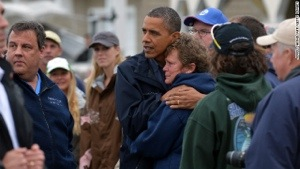 "President Obama and NJ Gov Christie meeting families who suffered from ""Sandy"".  The GOP showed just how much they disliked this show of solidarity."