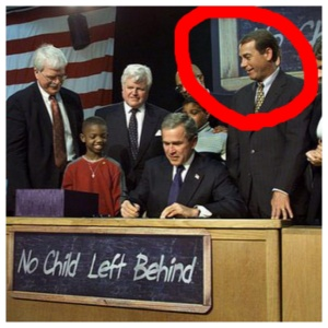 "President George W. Bush signed ""No Child Left Behind"", his reauthorized version of Johnson's 1965 bill. Standing next to him, Speaker of the House, John Boehner (R), who consistently blocked Obama's ability to fix the law he watched Bush sign."