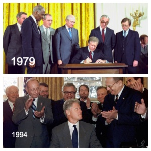 President Carter created the Department of Education and brought a representative, the new Presidential Cabinet Secretary to executive levels, while President Bill Clinton signed into law his version of the ESEA through reauthorization.