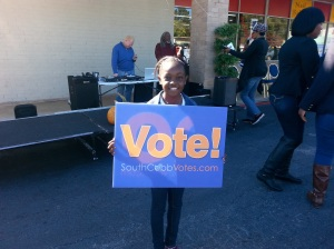 My youngest daughter, Aaryn, 8, learning the importance of civic engagement